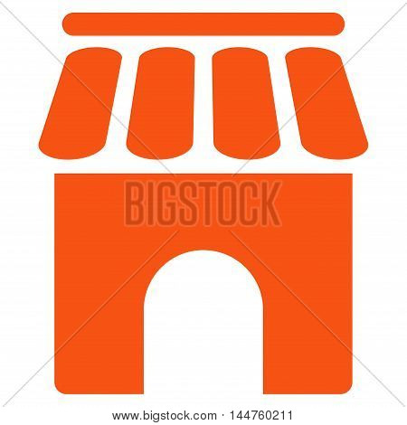 Shop Building icon. Vector style is flat iconic symbol, orange color, white background.