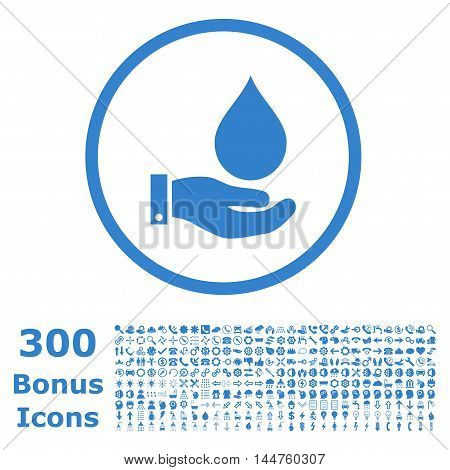 Water Service rounded icon with 300 bonus icons. Vector illustration style is flat iconic symbols, cobalt color, white background.