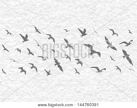Flying Birds Silhouettes On White Grunge Background. Vector Illustration