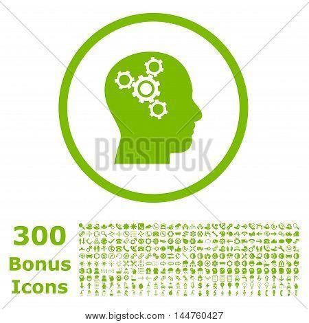 Brain Mechanics rounded icon with 300 bonus icons. Vector illustration style is flat iconic symbols, eco green color, white background.