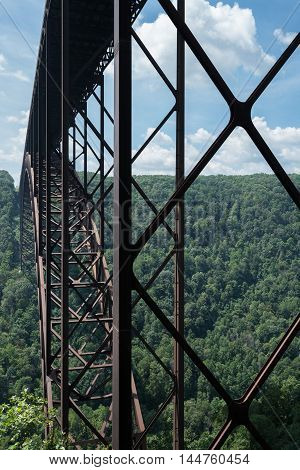 Metal Structure Of The New River Gorge Bridge In West Virginia