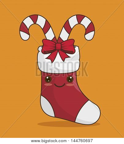 socks christmas and canes  icon vector illustration design