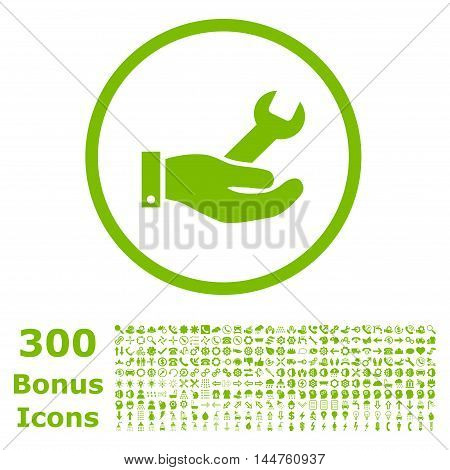 Repair Service rounded icon with 300 bonus icons. Vector illustration style is flat iconic symbols, eco green color, white background.