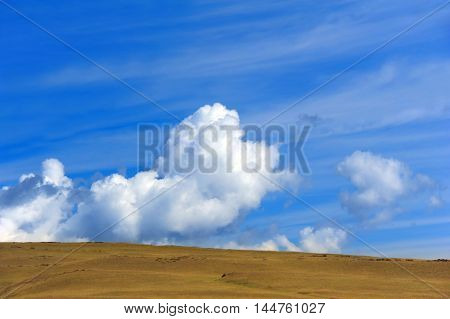 Background image shows horizon and the