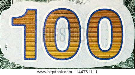 Number 100 on a 100 US dollars bank note made in 2009