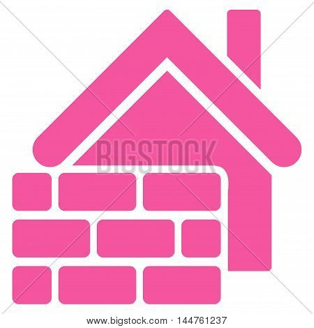 Realty Brick Wall icon. Vector style is flat iconic symbol, pink color, white background.