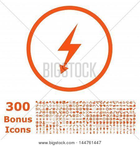 Electric Strike rounded icon with 300 bonus icons. Vector illustration style is flat iconic symbols, orange color, white background.