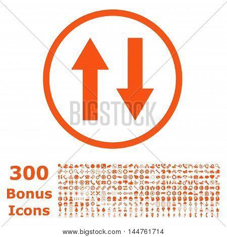 Vertical Flip Arrows rounded icon with 300 bonus icons. Vector illustration style is flat iconic symbols, orange color, white background.