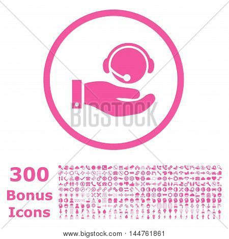 Call Center Service rounded icon with 300 bonus icons. Vector illustration style is flat iconic symbols, pink color, white background.