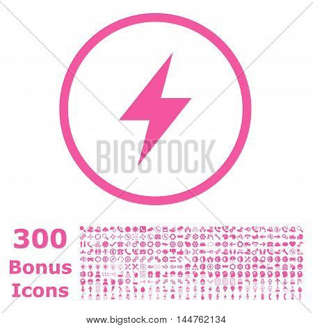 Electric Strike rounded icon with 300 bonus icons. Vector illustration style is flat iconic symbols, pink color, white background.