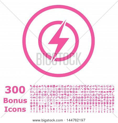 Electricity rounded icon with 300 bonus icons. Vector illustration style is flat iconic symbols, pink color, white background.