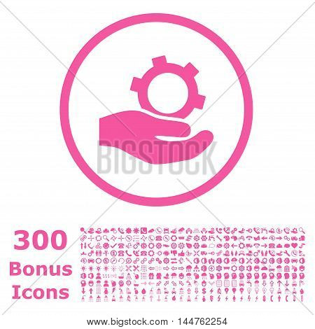 Engineering Service rounded icon with 300 bonus icons. Vector illustration style is flat iconic symbols, pink color, white background.