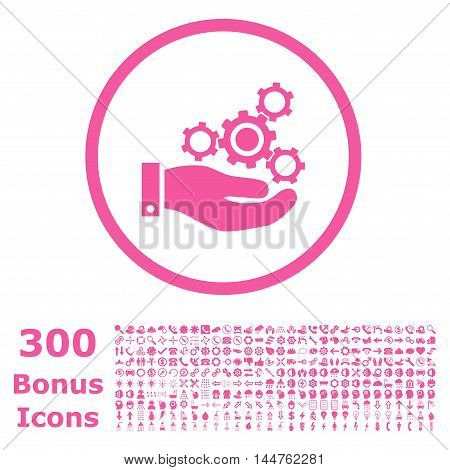 Mechanics Service rounded icon with 300 bonus icons. Vector illustration style is flat iconic symbols, pink color, white background.