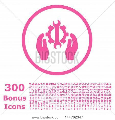 Repair Service rounded icon with 300 bonus icons. Vector illustration style is flat iconic symbols, pink color, white background.