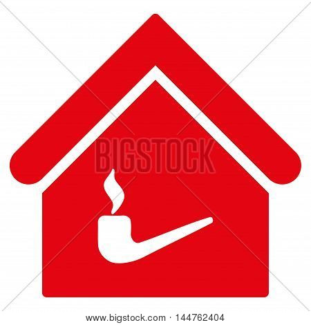 Smoking Room icon. Vector style is flat iconic symbol, red color, white background.