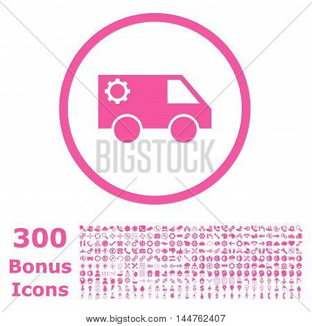 Service Car rounded icon with 300 bonus icons. Vector illustration style is flat iconic symbols, pink color, white background.