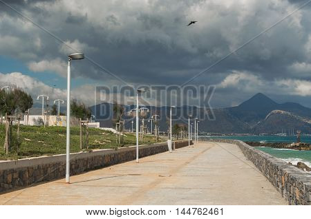 Promenade At The Sea Coast In Rethymno City, Crete, Greece