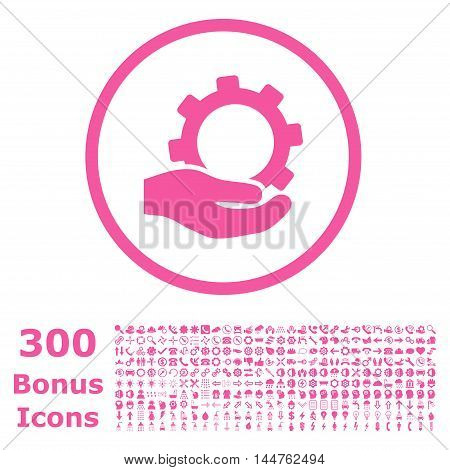 Service rounded icon with 300 bonus icons. Vector illustration style is flat iconic symbols, pink color, white background.
