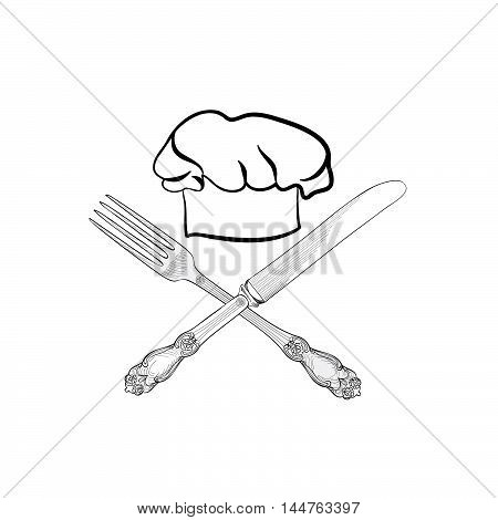 Chef cook hat with fork and knife hand drawing sketch label. Cutlery icon. Catering and restaurant service insignia. Restaurant symbol chef cook hat.