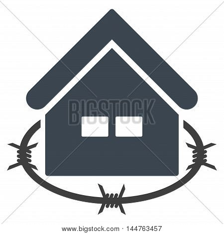Prison Building icon. Vector style is flat iconic symbol, smooth blue color, white background.