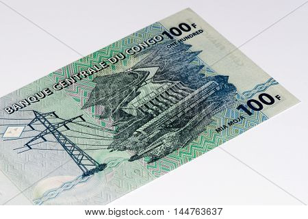 100 Congolese francs bank note of Congo. Congoles franc is the national currency of Congo