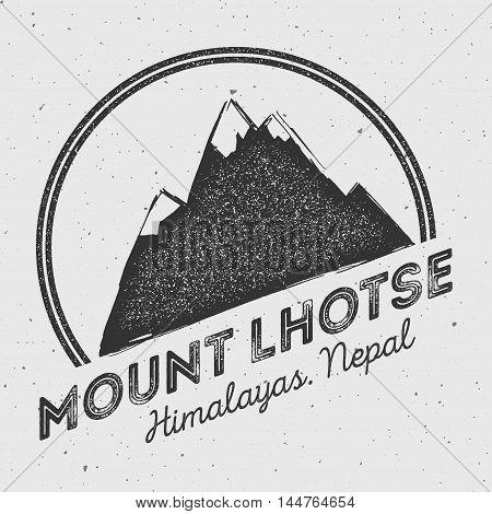 Lhotse In Himalayas, Nepal Outdoor Adventure Logo. Round Mountain Vector Insignia. Climbing, Trekkin