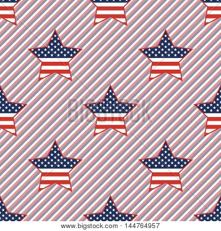 Usa Patriotic Stars Seamless Pattern On Red And Blue Stripes Background. American Patriotic Wallpape