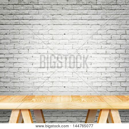 Blank Modern Wooden Table With Leg At White Brick Wall ,template Mock Up For Display Of Product