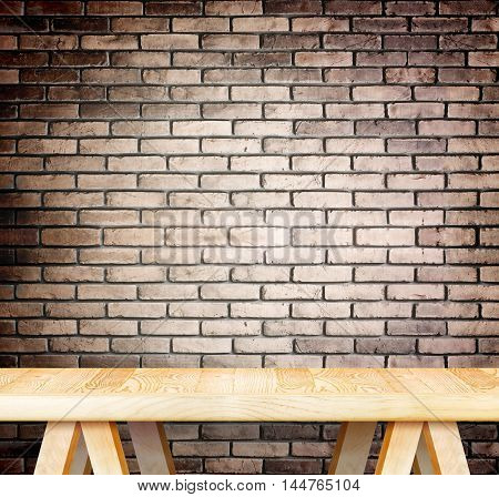 Blank Modern Wooden Table With Leg At Red Brick Wall ,template Mock Up For Display Of Product