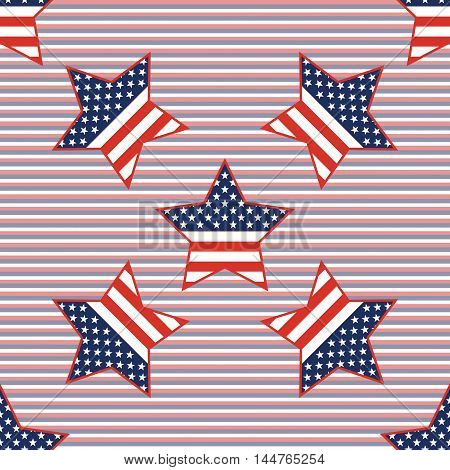 Usa Patriotic Stars Seamless Pattern On Red And Blue Diagonal Stripes Background. American Patriotic