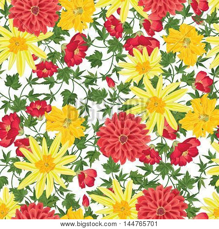 Floral Background. Floral Seamless Patter With Summer Flowers. Floral Bouquet With Wildflower.