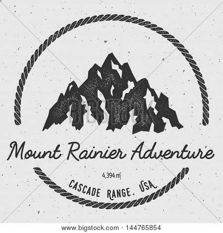Rainier In Cascade Range, Usa Outdoor Adventure Logo. Round Hiking Vector Insignia. Climbing, Trekki