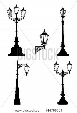Street lamp set. Street lights retro collection. Latern silhouette icons