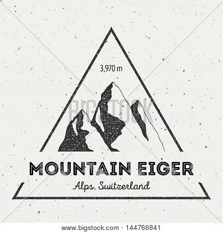 Eiger In Alps, Switzerland Outdoor Adventure Logo. Triangular Mountain Vector Insignia. Climbing, Tr