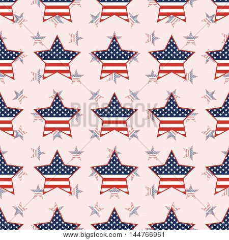 Usa Patriotic Stars Seamless Pattern On National Stars Background. American Patriotic Wallpaper With