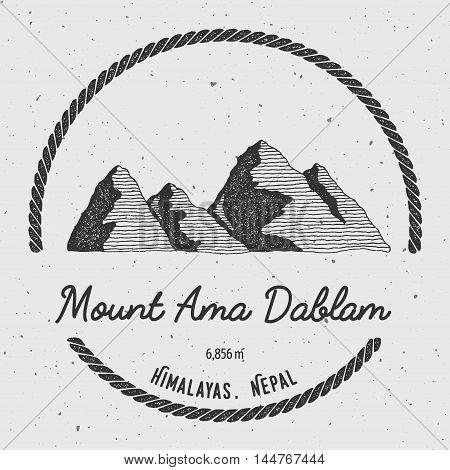 Ama Dablam In Himalayas, Nepal Outdoor Adventure Logo. Round Trekking Vector Insignia. Climbing, Tre