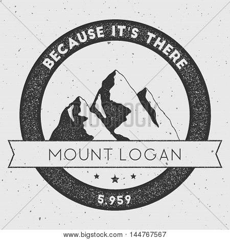 Logan In Saint Elias, Canada Outdoor Adventure Logo. Round Climbing Vector Insignia. Climbing, Trekk