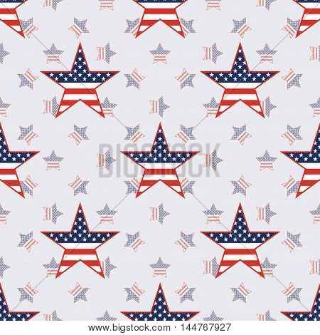 Us Patriotic Stars Seamless Pattern On American Stars Background. American Patriotic Wallpaper With