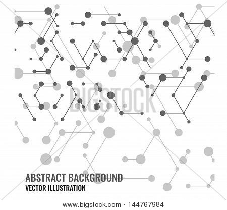 Vector abstract mesh and dots background. Modern technology illustration with digital lines. Geometric abstraction stripes points. Cube cell. Network connection concept.