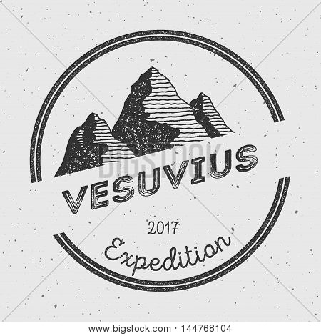 Vesuvius In Naples, Italy Outdoor Adventure Logo. Round Expedition Vector Insignia. Climbing, Trekki