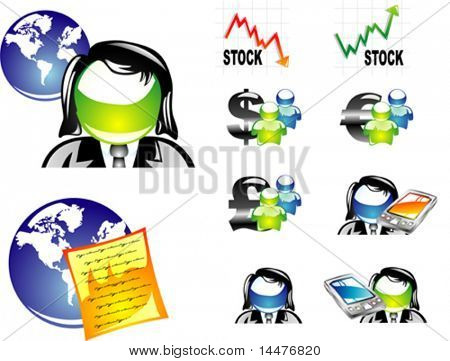 Vector finance dollar and euro stock quotation.Second set.