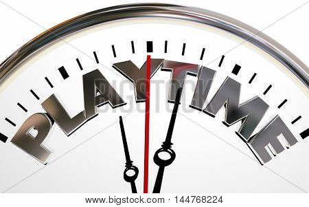 Play Time Fun Recreation Sports Clock 3d Illustration