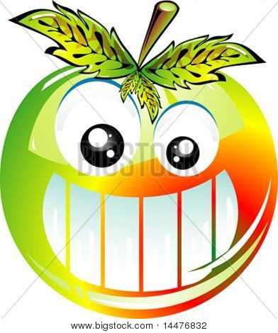 Vector funny Big Apple Smile Icon