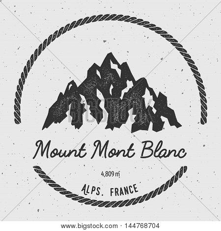 Mont Blanc In Alps, Italy Outdoor Adventure Logo. Round Hiking Vector Insignia. Climbing, Trekking,