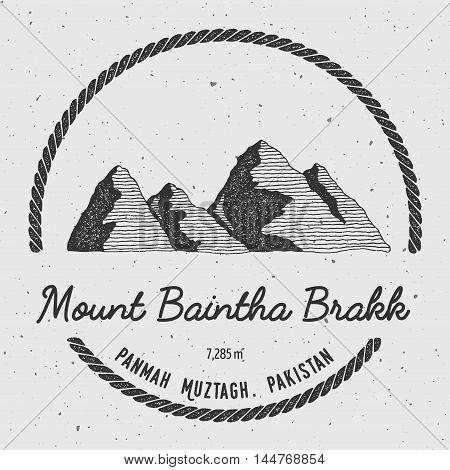 Baintha Brakk In Panmah Muztagh, Pakistan Outdoor Adventure Logo. Round Trekking Vector Insignia. Cl