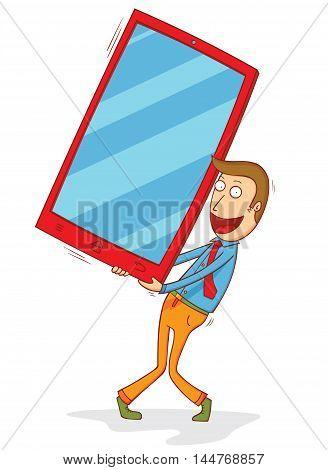 illustration of a man holding big screen smartphone