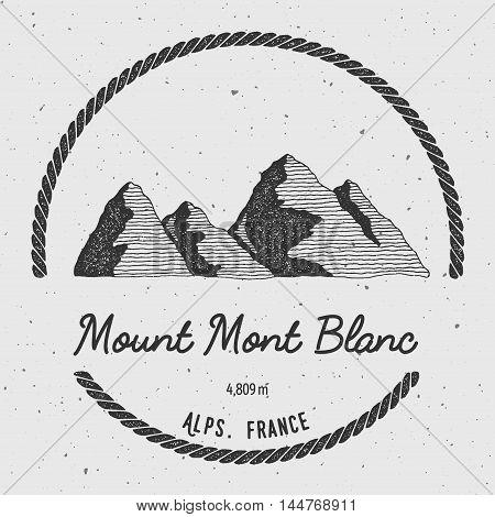 Mont Blanc In Alps, Italy Outdoor Adventure Logo. Round Trekking Vector Insignia. Climbing, Trekking
