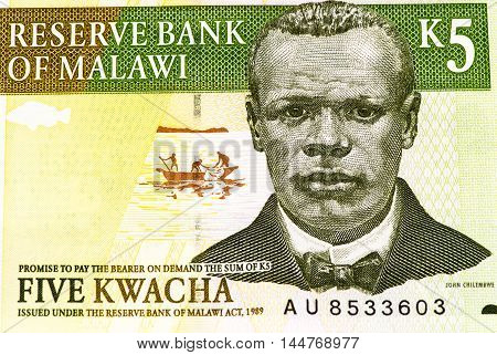 5 Malawi kwacha bank note. Malawi kwacha is the national currency in Malawi