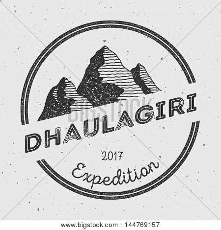 Dhaulagiri In Himalayas, Nepal Outdoor Adventure Logo. Round Expedition Vector Insignia. Climbing, T