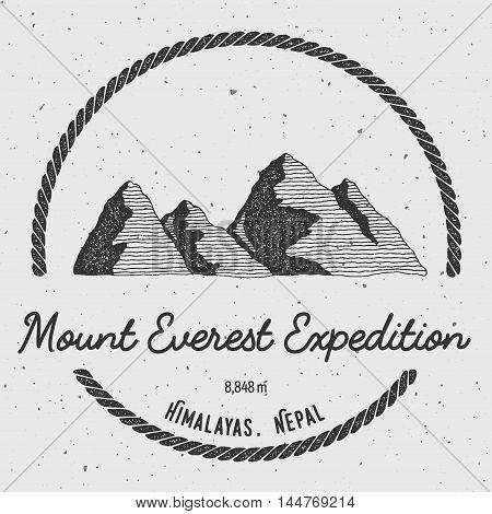 Everest In Himalayas, China Outdoor Adventure Logo. Round Trekking Vector Insignia. Climbing, Trekki